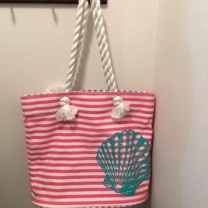 Handbags - Super fun stripe/seashell bag w/rope straps